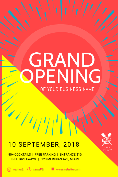 Business Grand Opening Poster Template 海报