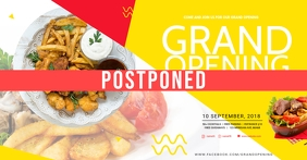 Business Grand Opening Postponed Social Media Facebook Event Cover template