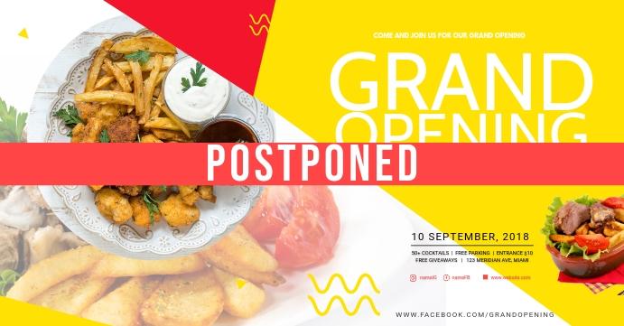 Business Grand Opening Postponed Social Media ปกอีเวนต์ Facebook template