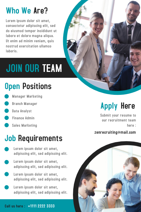 Business Hiring Flyer & Poster Template Design