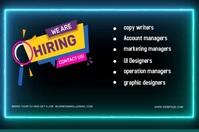 business hiring poster and flyer desing Etykieta template