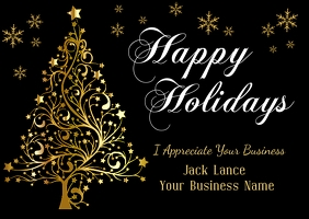 Business Holiday Black & Gold Postcard Открытка template