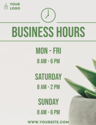 Business hours cactus simple door sign Flyer (US Letter) template