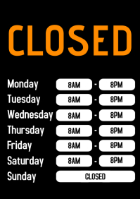 Business Hours Closed Door Sign Working times