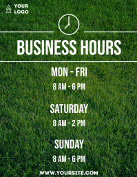 Business hours grass flyer info