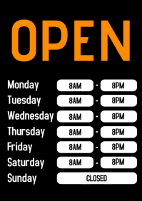Business Hours Open Door Sign Working times