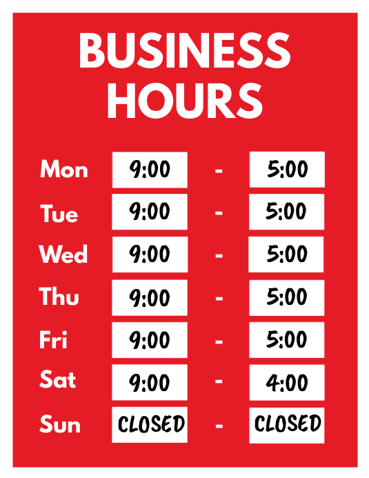 Business Hours Opening Hours Flyer Folheto (US Letter) template