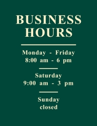Business Hours Opening Hours Flyer Рекламная листовка (US Letter) template
