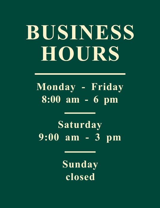 Business Hours Opening Hours Flyer