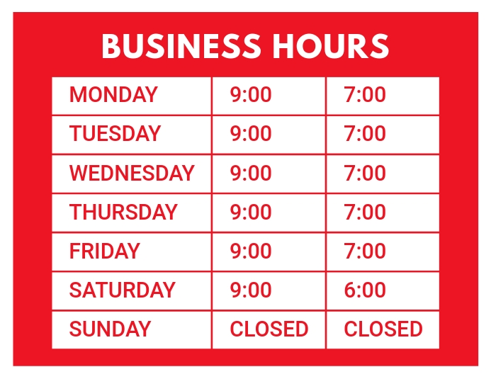 Business Hours Opening Hours Flyer template