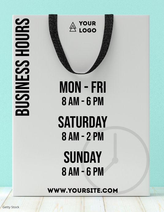 Business hours shopping bag info Flyer (Letter pang-US) template