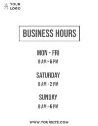 Business hours simple flyer info