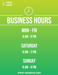 Business hours simple flyer info gradient