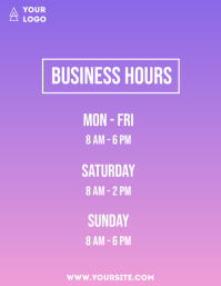 Business hours simple flyer info purple