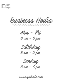 Business hours simple handwritten flyer info