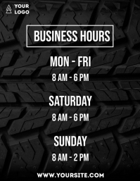 Business hours simple neon flyer info