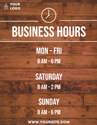 Business hours wooden flyer info