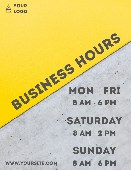 Business hours yellow grey flyer info