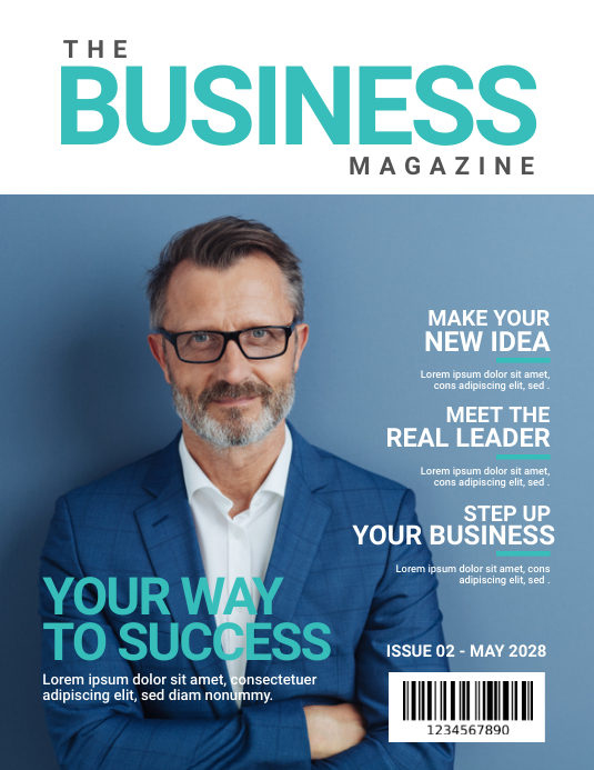 Business Magazine Cover Løbeseddel (US Letter) template