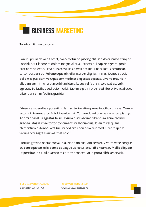 BUSINESS MARKETING letter head template
