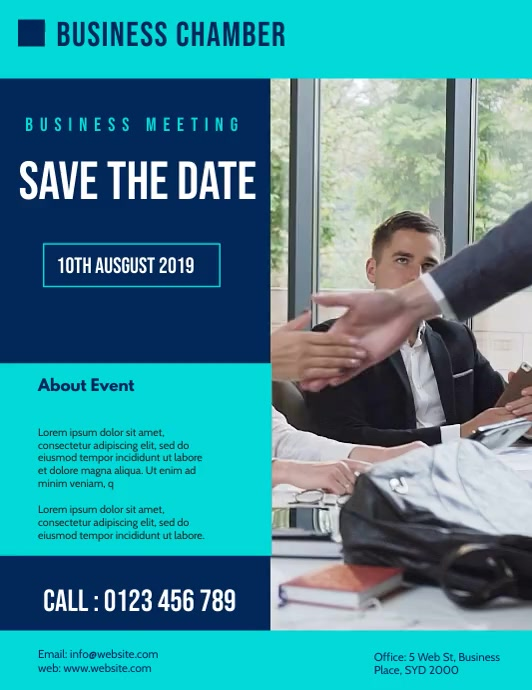 business meeting flyer template Ulotka (US Letter)