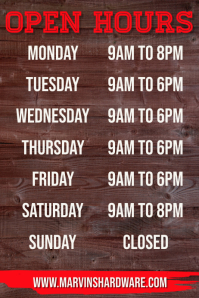 Business Opening Hours Poster Template