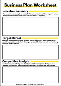 Business Plan Worksheet Form Template A4