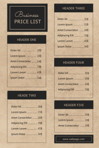 Business Price List Template Vintage Plakkaat