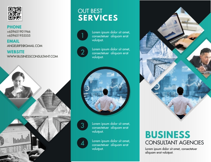 Business Service Product Information Brochure Folheto (US Letter) template