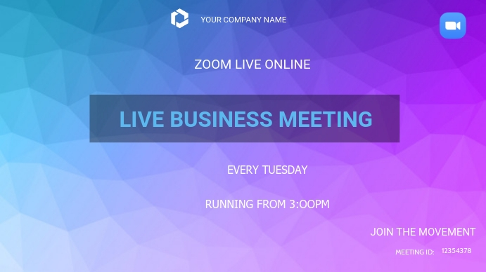 Business zoom meetings Pantalla Digital (16:9) template