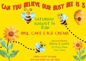 Busy Bee Birthday Invitation Poskaart template