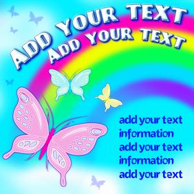 Butterflies and rainbow, digital template