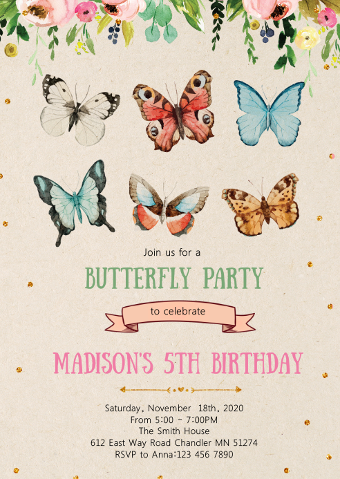 Butterfly floral birthday party invitation