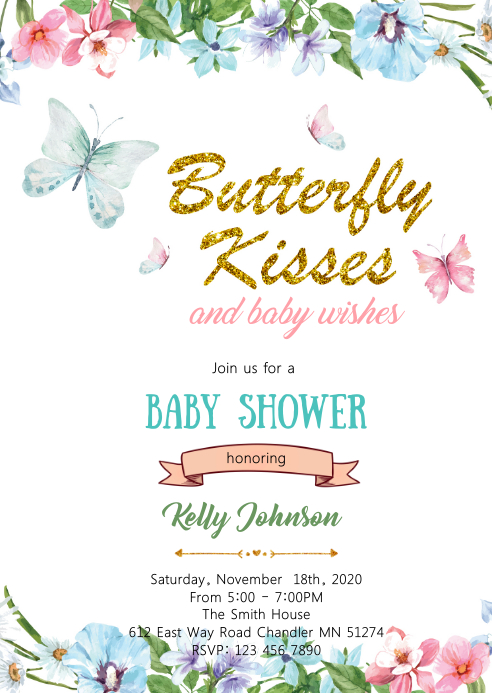 Butterfly Kisses and Baby Wishes card A6 template