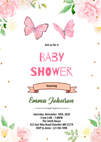 Butterfly party baby shower invitation A6 template