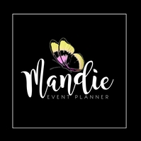 Butterfly Square Classy Event Planner Logo Logótipo template