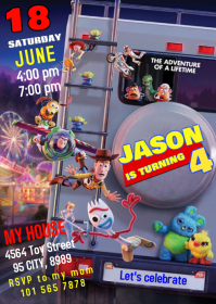 Toy Story 4 Party Birthday Invitation 05