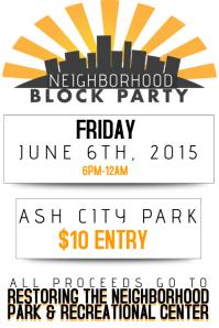 Neighborhood Block Party Community Fundraiser Charity Donate Environment Park Recreational Event AD