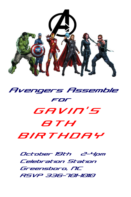 Avengers Birthday Invitation Customize Template