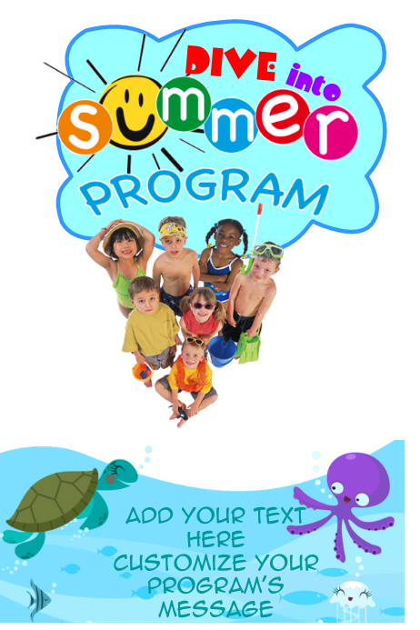 Summer Kids Students Children Swimming Pool Party Program Club Team Event