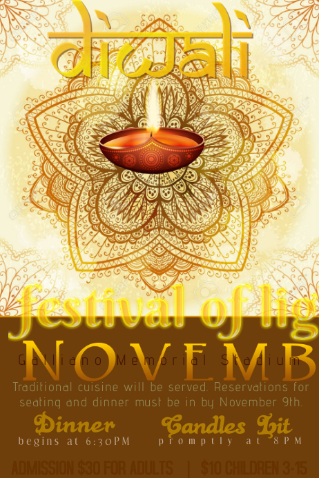 diwali festival of lights holiday dinner event flyer