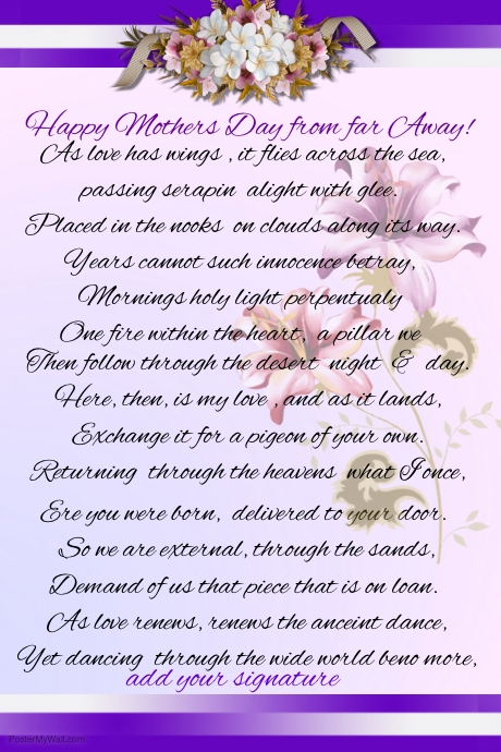 Mothers Day Poem Template | PosterMyWall