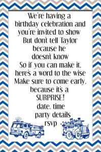 Boy Blue Gray Chevron Birthday Party Invitation Announcement Fundraiser
