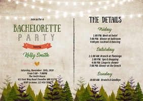 Cabin wood Bachelorette itinerary invitation