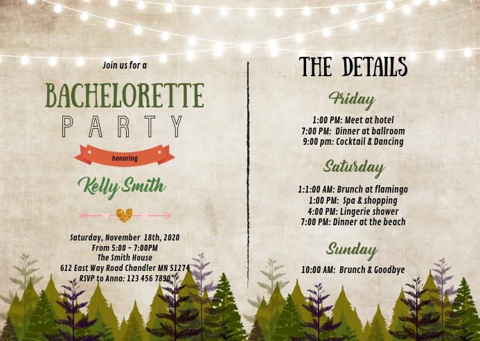 Cabin wood Bachelorette itinerary invitation A6 template