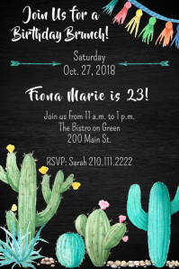 Cacti Birthday Invite