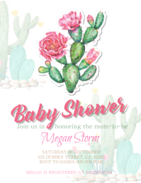 Cactus Baby shower Invitation template