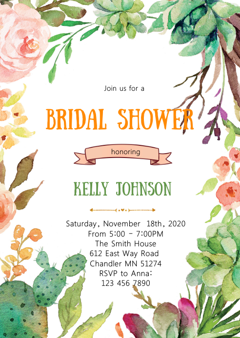 Cactus bridal shower party invitation A6 template