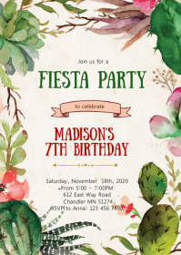 Cactus fiesta birthday party invitation
