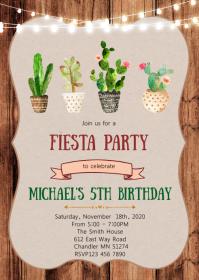 Cactus Fiesta party theme invitation